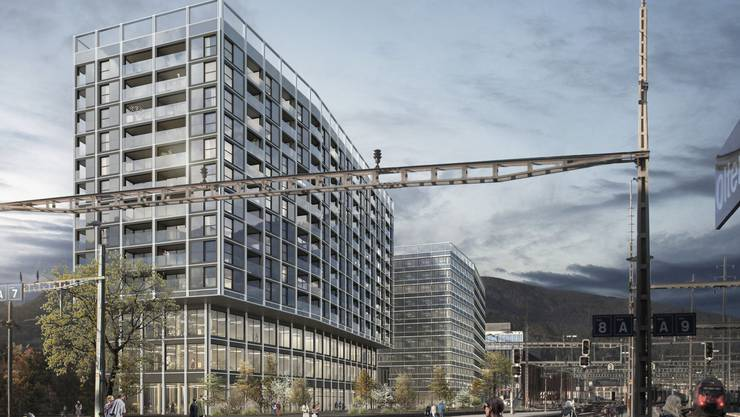 «Eine schöne Balance zwischen kraftvoller Präsenz und zurückhaltender Eleganz»: so stellt sich das siegreiche Team atelier ww Architekten SIA AG aus Zürich den Kopfbau auf dem Baufeld 1 am Bahnhofplatz vor.