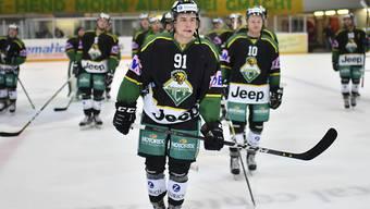 Michael Loosli (Nr. 91) entschied mit einem Tor und einem Assist das siebente Spiel für den HC Thurgau gegen Ajoie.