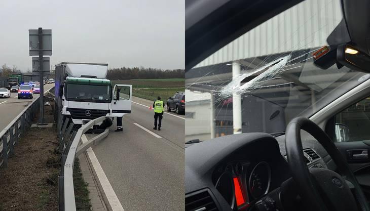 Ein Lastwagen durchbrach die Mittelleitplanken und geriet auf die Gegenfahrbahn. Ein Autolenker wurde durch herumfliegende Gegenstände im Gesicht verletzt.