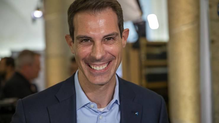 Thierry Burkart, FDP Nationalrat, im Wahlzentrum des Kanton Aargau am Sonntag, 20. Oktober 2019, in Aarau. (KEYSTONE/Patrick B. Kraemer)