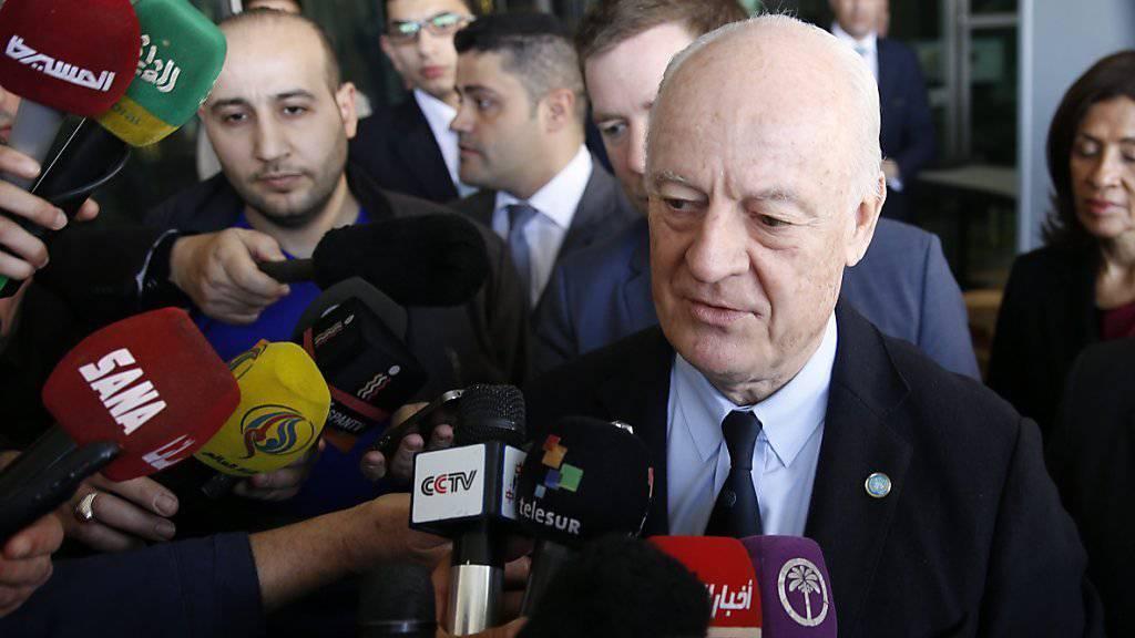 Der UNO-Sondergesandte Staffan de Mistura nach dem Treffen mit dem syrischen Aussenminister in Damaskus.