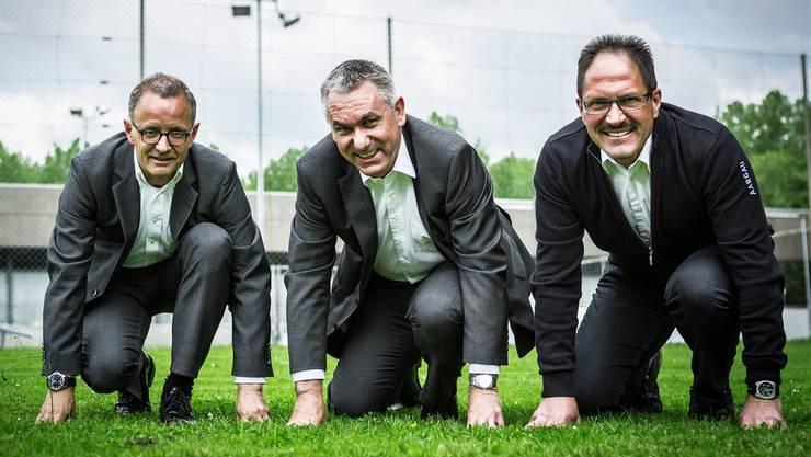 In den Startlöchern: Hanspeter Hilfiker (1. Vizepräsident), Alex Hürzeler (OK-Präsident), Christian Menzi (2. Vize).