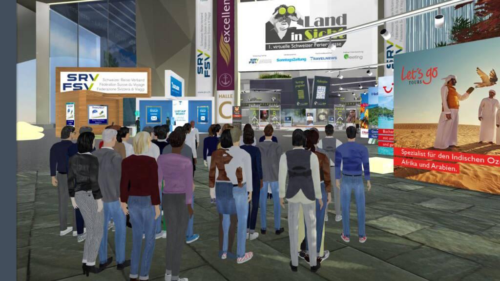 An der virtuellen Schweizer Ferienmesse konnten sich Besucher als Avatare fortbewegen und Stände besuchen.