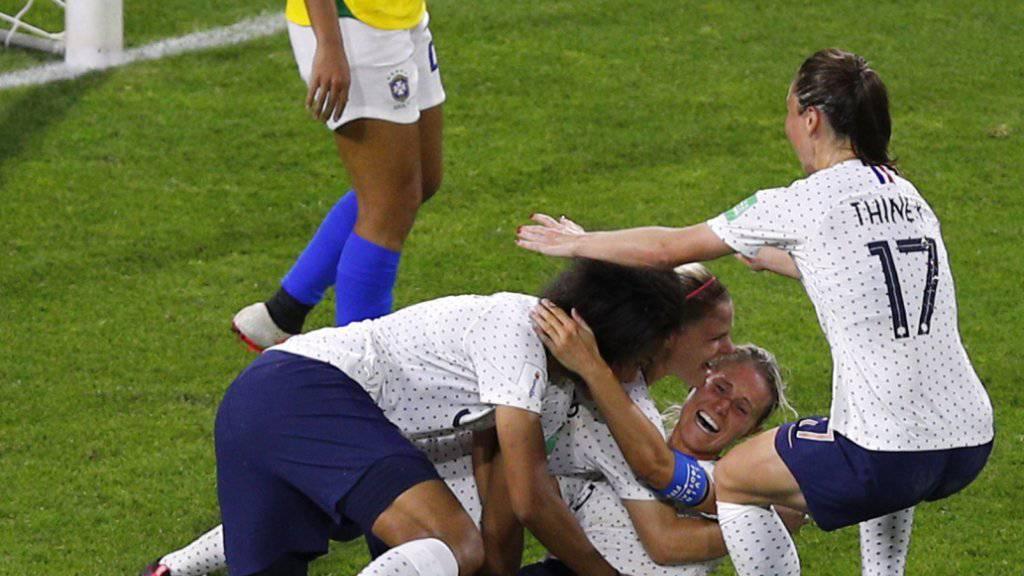 Französischer Jubel nach dem Siegestor im Achtelfinal gegen Brasilien