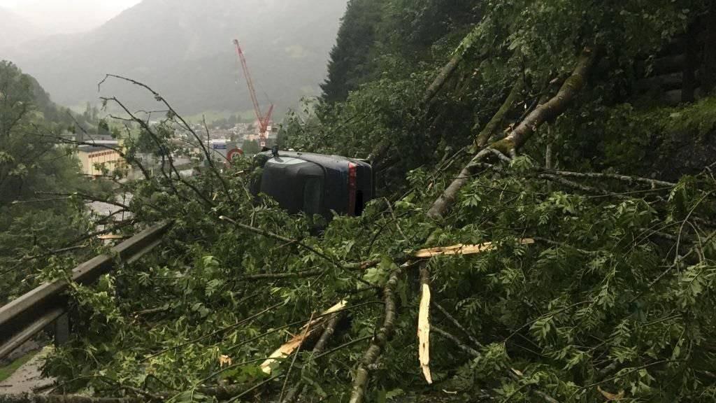 Heftige Sturmböen haben am Samstagabend in Schwanden GL mehrere Bäume zum Umsturz gebracht - ein holländischer Autofahrer wurde vom Unwetter überrascht, sein Auto von den Bäumen eingeklemmt.