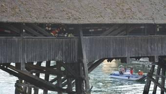 Erneutes Feuer auf der alten Holzbrücke in Olten