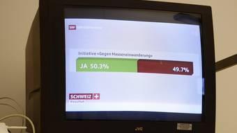 Das Abstimmungsresultat zur Masseneinwanderungsinitiative. (Archiv)