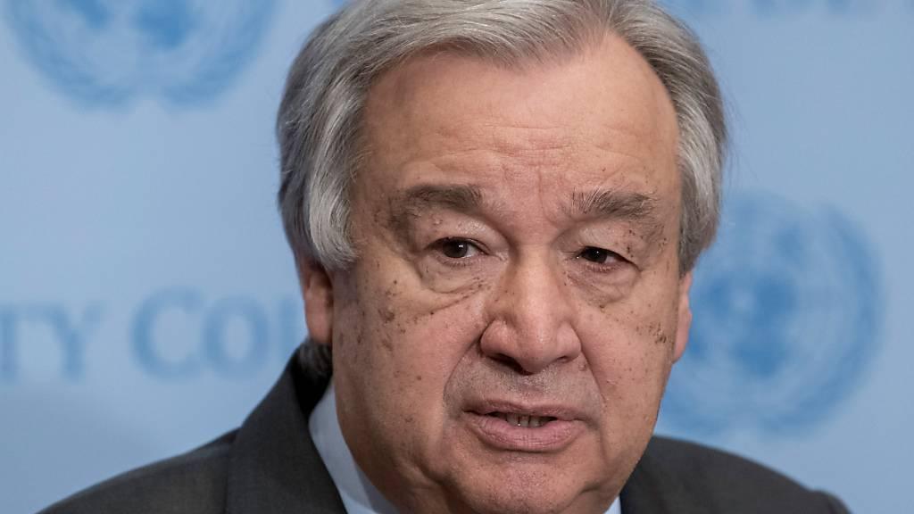 ARCHIV - N-Generalsekretär Antonio Guterres hat die Militärjunta in Myanmar erneut scharf verurteilt und aufgefordert, das harte Durchgreifen gegen Demonstranten umgehend zu beenden. Foto: Mark Garten/UN/dpa - ACHTUNG: Nur zur redaktionellen Verwendung und nur mit vollständiger Nennung des vorstehenden Credits