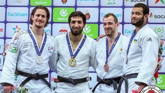 Der Brugger Judoka Ciril Grossklaus (ganz links) holte am Grand Prix in Agadir (Marokko) den zweiten Platz in der Kategorie -90kg.