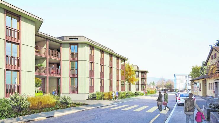 Die geplanten Neubauten: Unter den brückenartigen Balkonen ergeben sich grosse Zugänge.