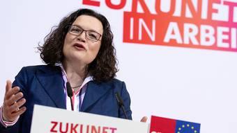 """""""Erst mal eine Positionierung"""": SPD-Parteichefin Andrea Nahles erläutert die Abkehr der Parteispitze von Hartz IV."""