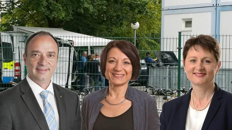 Tötungsdelik in Asylunterkunft: Die drei Regierungsratskandidaten der grossen Parteien (Markus Dieth, CVP, Yvonne Feri, SP, und Franziska Roth, SVP) sind unterschiedlicher Meinungen.