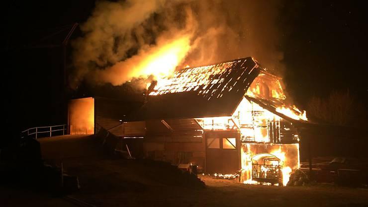 Die Feuerwehr kam zu spät: Der Stall brannte bis auf die Grundmauern ab.