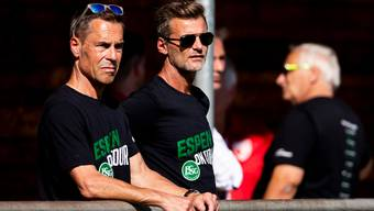 Die beiden Führungsköpfe des FC St. Gallen: Präsident Matthias Hüppi (links) und Sportchef Alain Sutter. (Bild: Christian Merz/Keystone, Rüti, 30. Juni 2018).