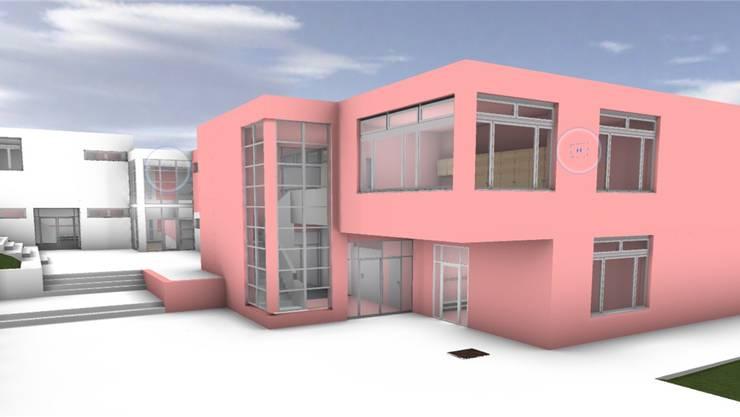 Blick auf den geplanten Anbau (rot) von der Schulhausstrasse her. Visualisierung/zvg