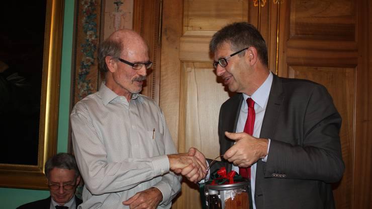 Stadtammann Daniel Mosimann und Referent Peter Jud