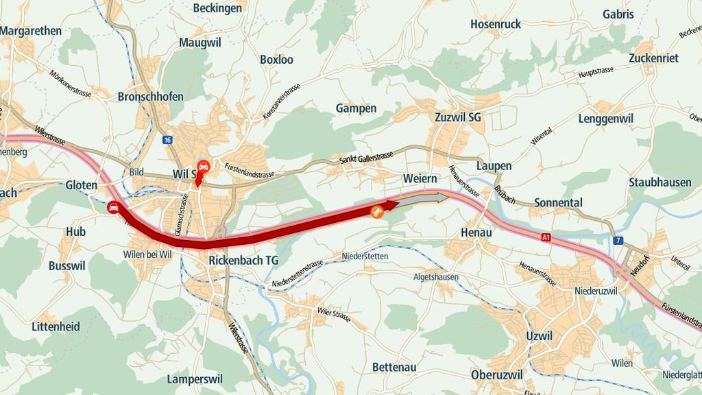 20 Minuten mehr Zeit braucht man von Wil Richtung St.Gallen.