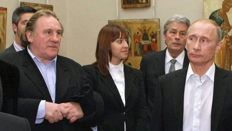 Aufnahme vom Dezember 2010 von Vladimir Putin und Gérard Depardieu