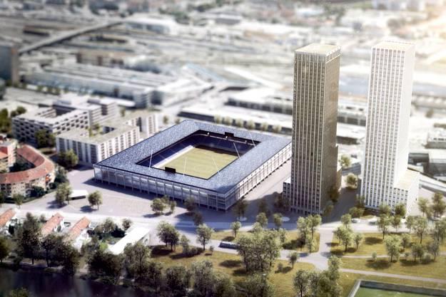 Blick auf das geplante Hardturm-Stadion mit den beiden Hochhäusern.