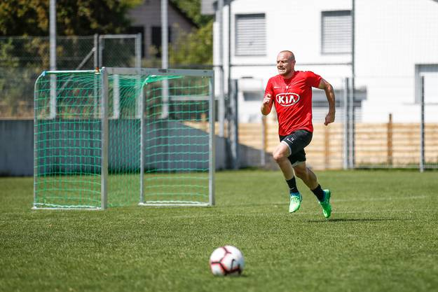 Marco Schneuwly im Training des FC Aarau auf dem Trainingsplatz des Stadion Brügglifeld in Aarau. (16. Juli 2018)