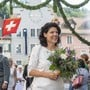 Jugendfest Brugg, 4. Juli 2019. Frau Stadtammann Barbara Horlacher strahlt am Rutenzug.