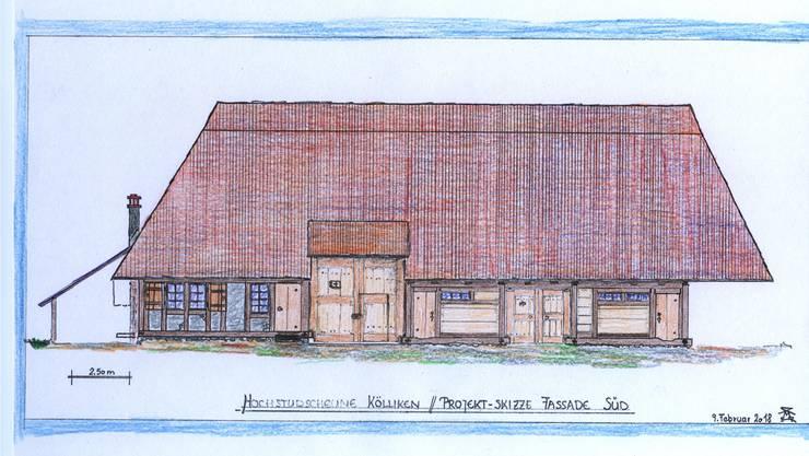 Holzbau-Fachmann Martin Hoffmann aus Reinach hat basierend auf den Plänen der Kantonsarchäologie die Scheune skizziert, wie sie nach dem Wiederaufbau ausschauen könnte. Der Zustand würde dem um 1900 entsprechen.