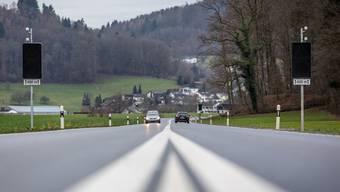 Pfosten mit Signaltafeln und wärmegesteuerten Sensoren der Wildwaranlage am Rand der Kantonsstrasse zwischen Seon und Schafisheim. Pascal Meier