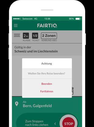 Die Fairtiq App funktioniert nicht ganz vollautomatisch. Vermutet die App das Ende der Reise, ruft sie dazu auf, das zu signalisieren.