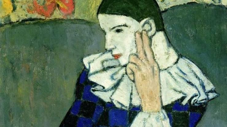 """""""Arlequin accoudé"""" von Pablo Picasso (Ausschnitt)."""