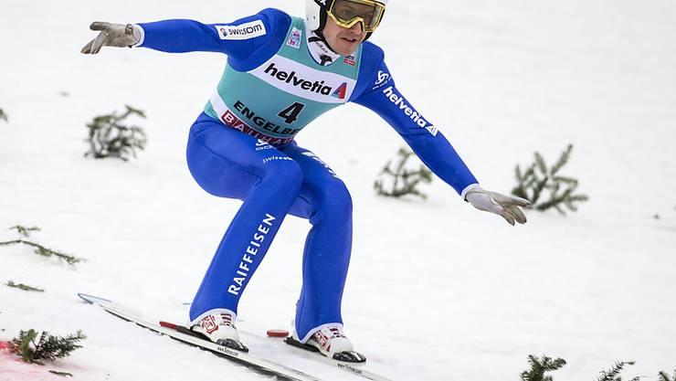 Endlich wieder einmal Weltcup-Punkte: Simon Ammann landete am Sonntag in Engelberg auf Platz 29