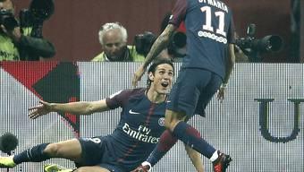 Edinson Cavani zeigte sich im Match gegen Nice in der Laune des Goalgetters