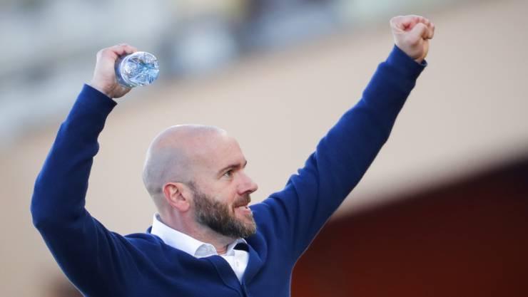 Vaduz-Trainer Roland Vrabec freut sich über den Sieg gegen den walisischen Cupsieger Bala Town