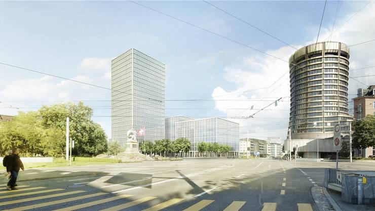 Der geplante 86-Meter-Turm, daneben die Bürogebäude. ZVG