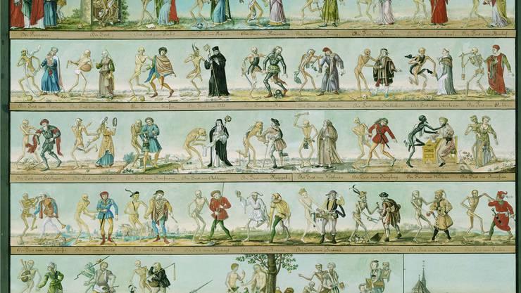 Der Basler Totentanz von Johann Rudolf Feyerabend (1805). Historisches Museum Basel