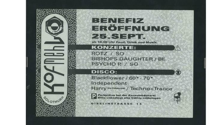 1993 - Erster Flyer der Kulturfabrik Kofmehl