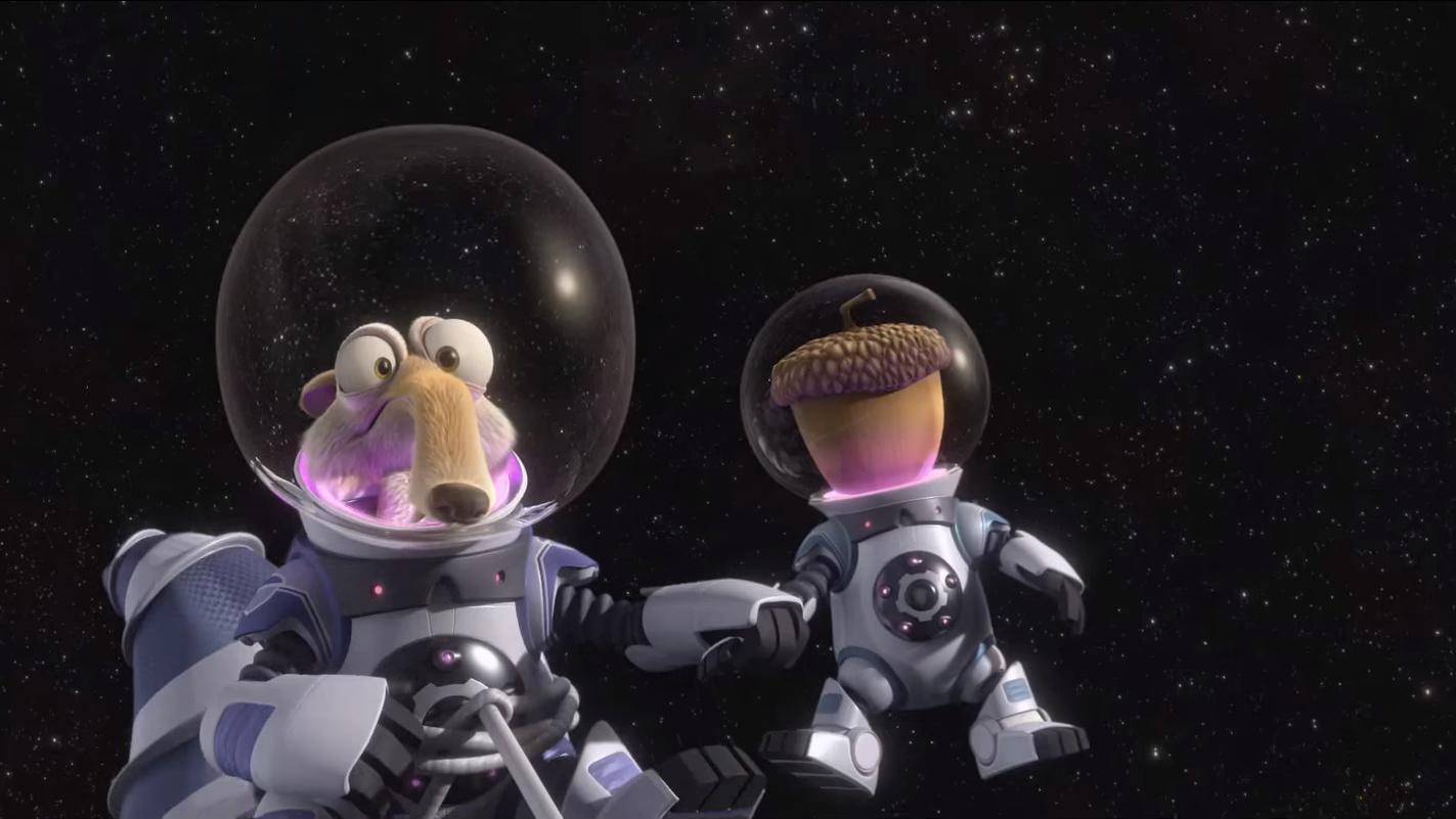 Scrat folgt seiner Nuss bis in den Weltraum.