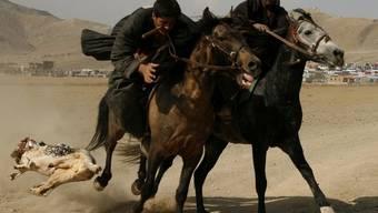 Kampf um eine tote Ziege - traditionelles Reiterspiel Buskaschi in Afghanistan (Archiv)
