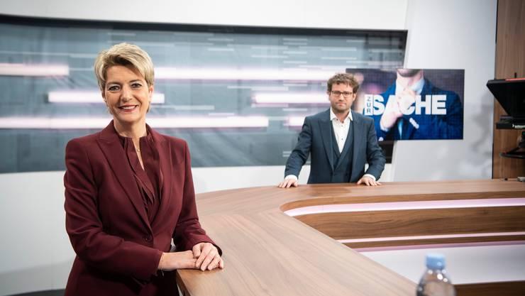 Bundesrätin Karin Keller-Sutter diskutiert mit «Tagblatt»-Chefredaktor Stefan Schmid.