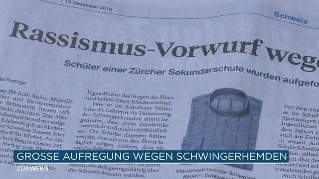 Garderoben-Eklat in Gossau im Dezember 2014: Zehn Jugendliche waren mit traditionellen Schwinger-Hemden in der Schule. Die Lehrerin hat dies verboten, da es rassistisch sei. (Tele Züri vom 13.12.2015)