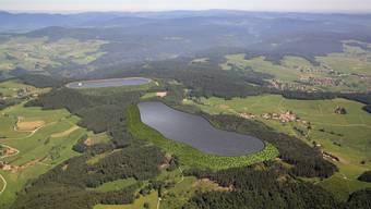 Die Visualisierung zeigt das Oberbecken des geplanten Pumpspeicherwerks Atorf.  Schluchseewerk AG