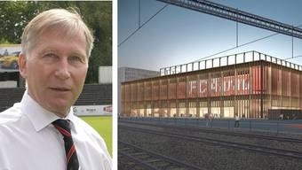 FCA-Präsident Alfred Schmid und die Stadion-Visualisierung