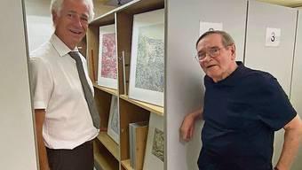 Ammann Raymond Tellenbach und Bruno Schwitter im Archiv.