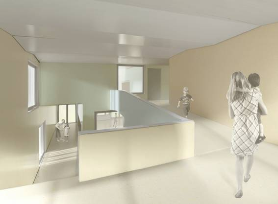Visualisierung, Garderobe Kita und Eingangshalle