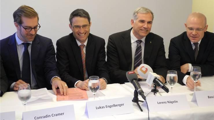Das damalige bürgerliche Viererticket mit Conradin Cramer (LDP), Lukas Engelberger (CVP), Lorenz Nägelin (SVP) und Baschi Dürr (FDP).