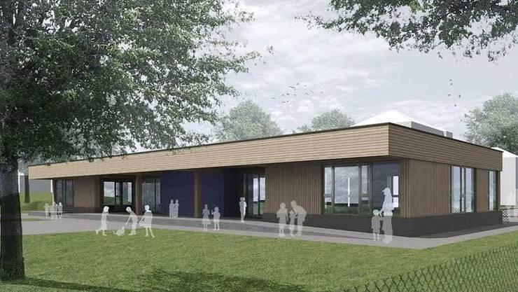 Die Visualisierung zeigt den geplanten Doppel-Kindergarten Bilander, der im August 2015 bezugsbereit sein soll. ARGE SUTERARCHITEKTEN/ARCHITEKTUR HERRIGEL SCHMIDLIN