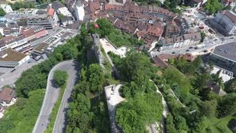 Die Ruine Stein mit Badens Altstadt.