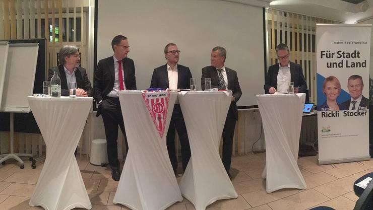 v.l.n.r. Stapi Schlieren Markus Bärtschiger, RR Mario Fehr, David Egger AZ-Medien, RR Ernst Stocker Stapi Dietikon Roger Bachmann