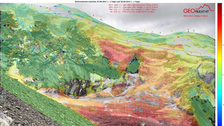 Solche Bilder lieferte die Kamera am Triftgletscher ob Saas-Grund Je mehr Rot, desto mehr Bewegung.