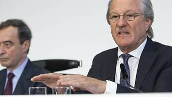 Holcim-Präsident Reitzle (r.) wirbt für die Grossfusion (Archiv)