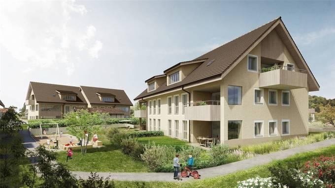 Das Projekt beim Kreisel Kreuzstrasse sieht insgesamt vier Mehrfamilienhäuser mit 24 Wohnungen vor. Visualisierung/zvg